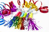 pic of blowers  - Party Horn Blower with colored streamers on white background - JPG