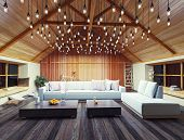 stock photo of attic  - beautiful modern interior loft in the evening - JPG