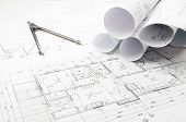 picture of interior sketch  - Construction blueprints planning drawings on the worktable and architectural instruments - JPG