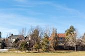 foto of suburban city  - Typical suburban American park in late January - JPG