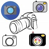 picture of megapixel  - colorful illustration with camera icons on white background - JPG