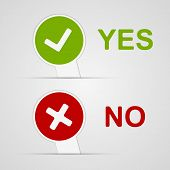 stock photo of yes  - Yes and No icons paper stickers - JPG