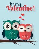 stock photo of owls  - Be My Valentine - JPG
