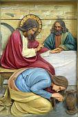 stock photo of magdalene  - Saint Mary Magdalene washing Jesus feet - JPG