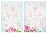 stock photo of decoupage  - Shabby chic backgrounds with roses - JPG