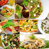 foto of italian food  - healthy vegetarian pasta soup salad pizza Italian food staples collage - JPG