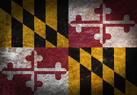 picture of maryland  - Old rusty metal sign with a flag  - JPG
