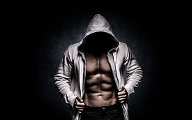 stock photo of nipples  - Strong Athletic Man On Black Background strong - JPG