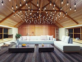 pic of rafters  - beautiful modern interior loft in the evening - JPG