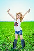 pic of wild west  - Pretty little girl on a meadow in summer day - JPG