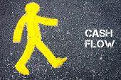 image of pedestrians  - Yellow pedestrian figure on the road walking towards CASH FLOW - JPG