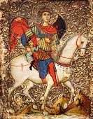 pic of crusader  - An ancient 13th century medieval tempera icon painting of St George and the youth of Mytilene which may have been created by a French artist working in the Crusader States - JPG