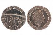 image of shekel  - Twenty Pence coin isolated over a white background - JPG