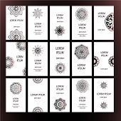 picture of ottoman  - Set of business card and invitation card templates with lace ornament - JPG