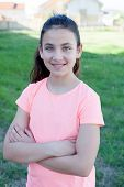 pic of  preteen girls  - Happy preteen girl with blue eyes smiling at outside - JPG