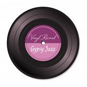 picture of gypsy  - Isolated vinyl record with the text Gypsy Jazz written on the record - JPG