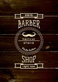 picture of barbershop  - Barbershop badges logos and labels for any use on wooden background texture - JPG