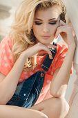 image of big-girls  - Very beautiful blonde girl with big brown eyes - JPG