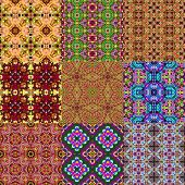 image of kaleidoscope  - Set of kaleidoscopic seamless generated textures or backgrounds - JPG