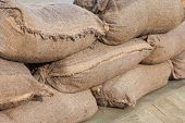 picture of flood  - Sandbags for flood defense or military use - JPG
