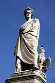 image of alighieri  - Statue of Dante Alighieri on the Piazza di Santa Croce in Florence Italy