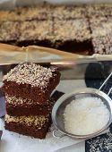 image of brownie  - Chocolate brownie cake with coconut - JPG