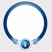 pic of yen  - Blue circular frame for your text and yen icon - JPG