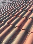 stock photo of roof tile  - Old Roof Top with Red Tiles - JPG