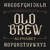 Old alphabet vector font. poster