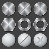 Screws, nuts and bolts realistic icons set poster