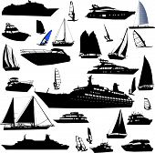 image of cruise ship  - Collection of detailed vector boat and ship outlines - JPG