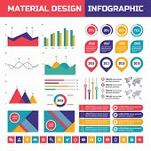 Business infographic vector set in material design style. Business infographics elements. poster