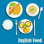 Постер, плакат: Traditional national english cuisine dishes