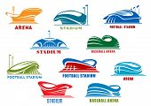 Постер, плакат: Stadiums and sport arenas abstract icons