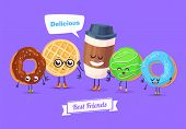 Постер, плакат: Set of breakfast characters Vector cute cartoons