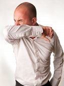 picture of elbows  - A man coughing - JPG