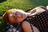 foto of clevage  - a beautiful redhead with glasses and a cute smile - JPG