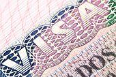picture of credential  - Macro shot of Schengen visa in passport - JPG