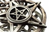 image of pentacle  - Pentagram with reflection macro shot on white - JPG