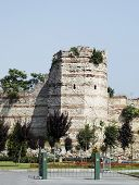 image of constantinople  - Istanbaul Turkey remaining tower still standing at the the wall of Constantinople - JPG