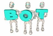 Bot Word Robots Carrying Letters Word AI 3d Illustration poster