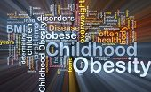 stock photo of obese  - Background concept wordcloud illustration of childhood obesity glowing light - JPG