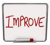 A white dry erase board with red marker, with the word Improve, representing the drive to change or