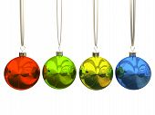 image of christmas lights  - Multicolored christmas balls isolated on white background - JPG