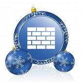 Firewall blue christmas balls icon poster