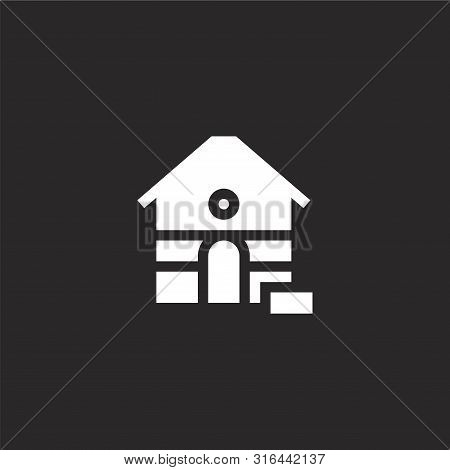 poster of Dog House Icon. Dog House Icon Vector Flat Illustration For Graphic And Web Design Isolated On Black