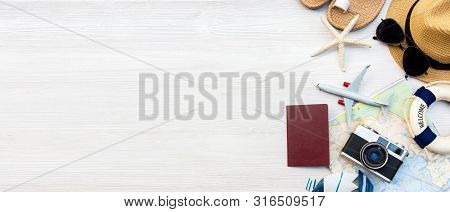 poster of Top View Of Traveler Accessories And Items  With Tourism Backpack And Visiting For Planning Trips Tr