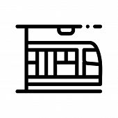 Public Transport Metro Vector Thin Line Sign Icon. Underground Metro Train Urban Passenger Transport poster