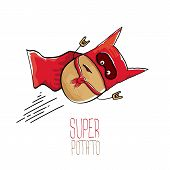 Vector Funny Cartoon Cute Brown Super Hero Potato With Red Hero Cape Isolated On White Background. M poster