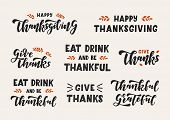 Happy Thanksgiving Hand Drawn Lettering Set. Happy Thanksgiving Day. Template Banner, Poster, Flyer, poster